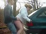 Horny Couple Stops A Car For A Quickie