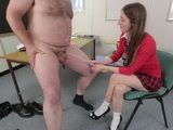 Fat Guy With Small Cock Caused The Schoolgirl To Make Sure That His Cock Will Grow