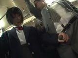 Businessman Gets Surprised When Immodest Japanese Schoolgirl Grabbed His Dick In A Bus