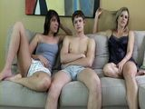 Amiee Cambrige and Cory Chase Gives Blowjob To Their Friend While Watching TV
