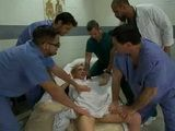 Busty Patient Gets Roughly Anal Gangbanged By Doc And Group of Technicians During Medical Exam