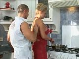 Son In Law Gets Horny While Watching Busty Wifes Mother Making Lunch In Kitchen