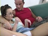 Nerd Teen Gets Fucked By Brothers Friend After a Dick Flash