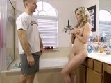 Blonde Didnt Understand Why Sisters Husband Enter A Bathroom After Her Shower But Suddenly All Became Clear