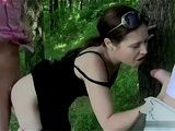 Horny Guys Fucking Bitch In The Woods
