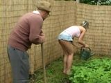 Teen Granddaughter Gets Rewarded Well For Helping Her Old Grandpa In the Garden