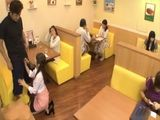 Waitress Gives A Head To Customer in Front Of His Girlfriend In Crowded restaurant