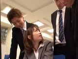 Busty Secretary Fujimoto Nao Made A Mistake By Staying At Work After Hours