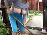 Busty Amateur Mature Working In The Garden