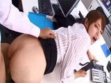 Japanese Secretary Akiho Yoshizawa Gets Banged On The Table By Her Boss While On The Phone With His Clients