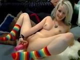Blonde Teen In Colorful Socks Masturbates Her Pussy With Dildo On Webcam