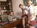 Two Coed Schoolgirls Earning Better Grade Easiest Way With Kinky Professor