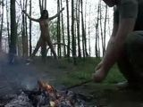 Kidnaped Brunette Gets Severely Tortured In The Woods By Insane Guy