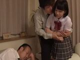 Cute Unprotected Teen Girl Shinomiya Yuri Assaulted By Fathers Colleague Beside Her Wasted Drunk Dad