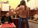 Naked Young Housewife Serves Herself For Lunch