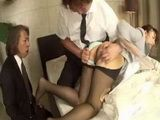 Hairy Uncensored Japanese Cunt Ganged By Two Older Perverts