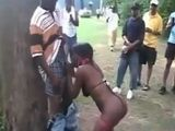 Mass Blowjob With One Shameless African Hooker In A Public Park