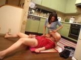 Japanese Housewife Violate Guy In Kitchen
